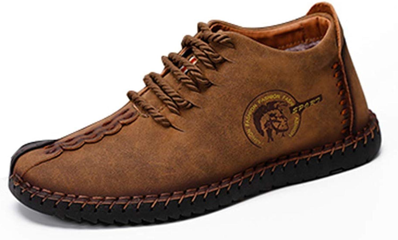 ZHRUI Keep Warm Winter Men Boots Split Leather Casual Men shoes Plush (color   Brown, Size   7 UK)