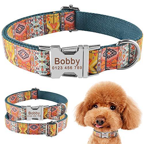 Nylon Collar de Perro PersonalizadoModa Niño niña Unisex Collar de Perros Productos para Mascotas Collar Pequeño Grande Etiqueta de identificación con Nombre Grabado Personalizado-Green_L (3
