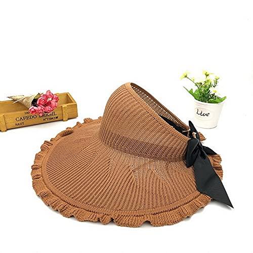 Yuese, cappello da spiaggia estivo da donna, con tesa grande, classico, con fiocco, pieghevole, alla moda, casual, da spiaggia (colore: marrone, taglia: unica)