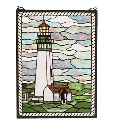 "Meyda Tiffany 55949 Yaquina Head Lighthouse Stained Glass Window Panel, 15"" Width x 20"" Height"