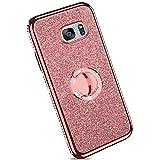 Ysimee kompatibel mit Samsung Galaxy S7 Hülle, Bling Schutzhülle Glänzend Weiche TPU Silikon HandyHülle Bumper Case mit Ring 360 Grad Ständer, Diamant Glitzer Case, Rose Gold -