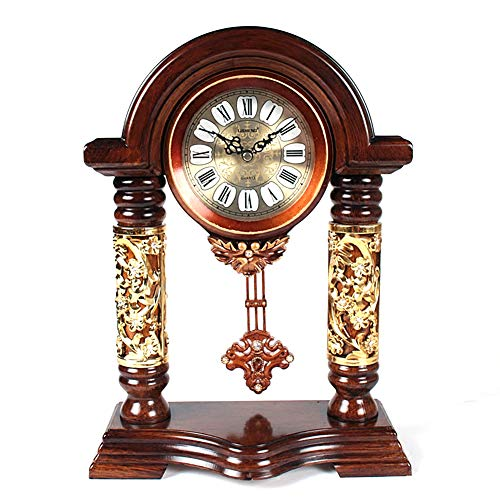 RNNTK Wooden Table Clock, Creative Retro 时钟room Pendulum Clock Wooden Bridge-Type Desktop Vintage Clock Clocks for Living Room Decor Red 37x27cm(15x11inch)