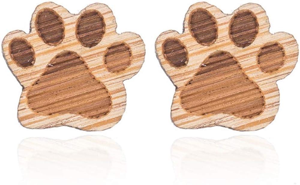 YINLIN Lovely Wooden Shaped Stud Earring for Women Girls