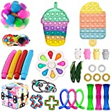 Fidget Toy Pack, Fidget Pack Sensory Relieves Stress Anxiety for Kids Adults, Fidget Toy Set with Pop and Dimple (Pack D)