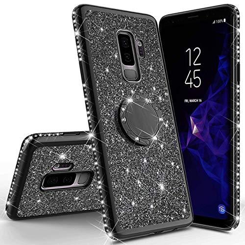 XMCJ Carcasa magnética brillante para Samsung Galaxy S10 S10e S8 S9 Plus A5 A7 2018 A6 A8 Note 8 9 360 (color: negro, material: para Galaxy S7 Edge)