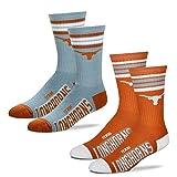 For Bare Feet Men's 4 Stripe Deuce Crew Socks-Texas Longhorns-Large-2 Pack
