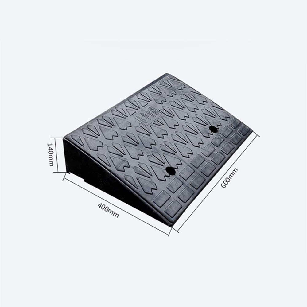 Tuuertge Curb Ramp Rubber Road Along The Slope Lengthening and Thickening 14CM Slope Pad Car Step Ramp Pad Speed Bump Rubber Ramp Strip Color : Black, Size : 60x40x14cm