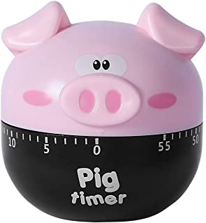 Huinsh Timer No Batteries Required 100% Mechanical Cute Kitchen Timer Stainless Steel Precision Life Timer (Pink Pig Shape)