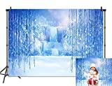BINQOO 7x5ft Frozen Background Winter Backdrop Ice and Snow White World Photography Backdrops Christmas Ice Crystal for Children Girls Birthday Party Photo Studio Props