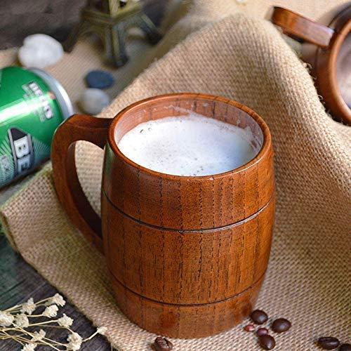 VPlus 410ml Umweltfreundliche Vintage Handgefertigte Klassische Holz Bier Tee Kaffeetasse Becher Wasser Tasse Heatproof Home Office Party Drinkbecher
