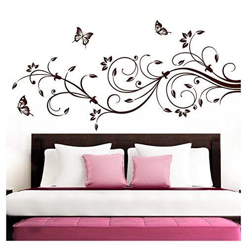 Grandora Wandtattoo XXL Blumenranken Schmetterlinge Blumen I braun (BxH) 160 x 69 cm I Schlafzimmer Liebe Flur Wohnzimmer modern Aufkleber Wandaufkleber W1073
