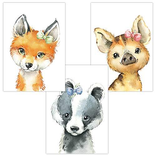Wandbilder 3er Set für Babyzimmer Deko Poster | Kunstdruck DIN A4 | Dekoration Kinderzimmer (Im Wald Fuchs Dachs Wildschwein)