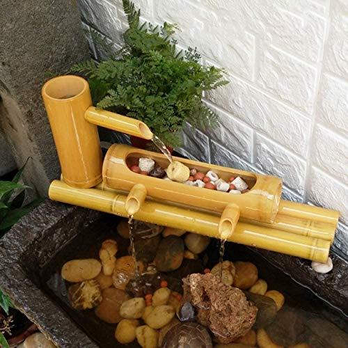 MissZZ Fuente y Bomba de Agua de bambú Hecha a Mano, decoración de jardín, Fuente Artesanal, jardinería Relajante, decoración de jardín japonés Zen, Adornos de Mesa de 50 cm para decoración de escr