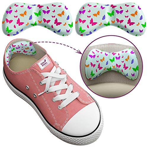 4 Kids Shoe Inserts, Extra Sticky Heel Grips for Kids, Add Extra Comfort and Volume (0.5 Size), Cute Small Heel Inserts for Girls and Boys Boots, Trainers, Or School Shoes