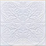 50pc of Astana White (20'x20' Foam) Ceiling Tiles - Covers About 135sqft - Styrofoam Ceiling Tile for Glue up Application