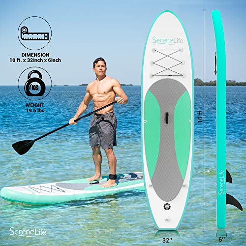 Product Image 2: SereneLife Inflatable Stand Up Paddle Board (6 Inches Thick) with Premium SUP Accessories & Carry Bag   Wide Stance, Bottom Fin for Paddling, Surf Control, Non-Slip Deck   Youth & Adult Standing Boat