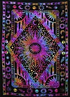 Jaipur Handloom Blue Purple Tie Dye Purple Burning Sun Tapestry, Celestial Sun Moon Planet Bohemian Tapestry Tapestry Tapestry Wall Hanging Boho Tapestry Hippie Hippy Tapestry Beach Coverlet Curtain