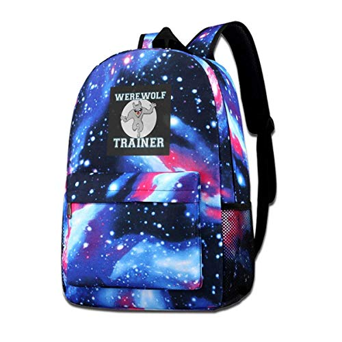Galaxy Backpack Printed Shoulders Bag Werewolf Trainer Fashion Casual Star Sky Backpack for Boys&Girls