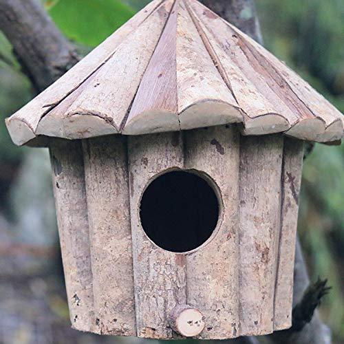 KINGEE Casita para Pájaros De Madera Original para Colgar Casita para Pájaros, Casita para Petirrojos De Madera Maciza para Pájaros Azules, Gorriones, Petirrojos
