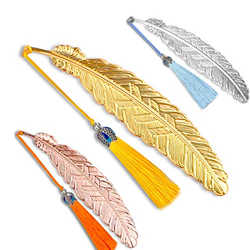 5PCS Premium Metal Feather Bookmark with Cloisonne Tassel, Personalized Page Markers for Kids Women and Men, Handmade Book Markers Gift for Reader Students Teachers and Writers by ZONBANG (5)