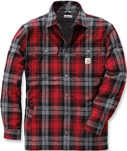 Carhartt .102333.608.S008 Shirt-Jacke Hubbard, gefüttert mit Sherpa-Fleece, Farbe:Dunkelrot, Größe:XXL