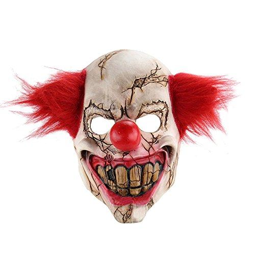 NAttnJf Máscara de látex de Cara Completa Payaso asustadizo Disfraz de Halloween Evil Creepy Party Horror Prop