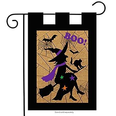 Halloween Witch Burlap Garden Flag Boo Bats Black Cat 12.5  x 18