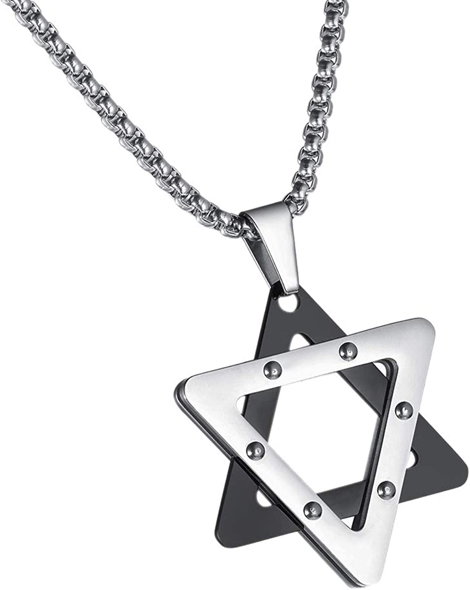 Valyria Stainless Steel Jewish Star of David Pendant Necklace Stainless Steel Israel Necklaces