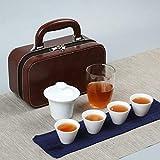 Servizio da tè da viaggio in porcellana bianca in stile cinese, borsa per il trasporto in ceramica, pubblicità per riunioni festive, LOGO personalizzato per regali aziendali-Zhengde Cup-Glass Tea Sea