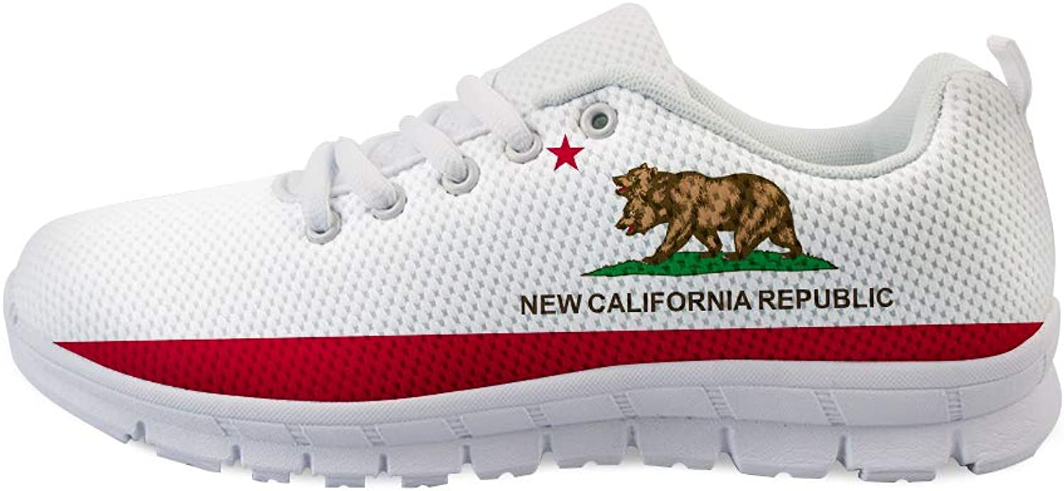 Owaheson Lace-up Sneaker Training shoes Mens Womens Double-Headed Grizzly Bear California Flag