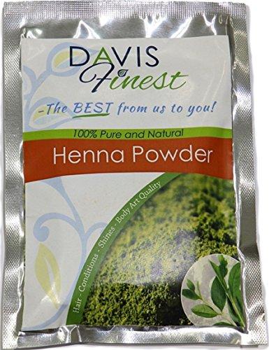 Davis Finest Henna-Pulver, Haarfarbe, dreifach gesiebt, Körperkunst-Qualität