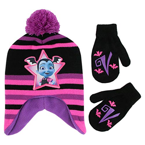 Disney Girls Toddler Vampirina Hat and Mittens Cold Weather Set, pink/black/purple, Age 2-4