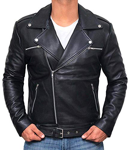 Men's Black Leather Jacket for Men - Biker Style Leather Jacket | [1100054] Black Ngan, L