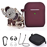 Airpods Case, TOROTOP 7 in 1 Silicone Air pod Case Cover Cute Protective Accessories Set with Bling Elephant Keychain/Strap/Ear Hook/Storage Box Compatible for Apple Airpods 1&2 Women Girls(Burgundy)