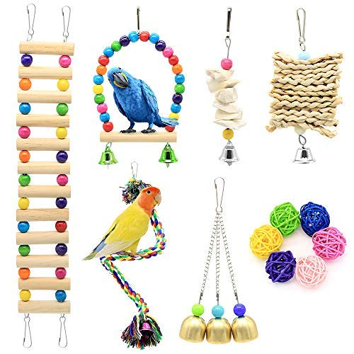 DOMIGLOW Bird Toys for Parakeets - 12 Packs Wooden Parrot Toys Bird Perch Bird Ladder Hanging Chew Toys Bird Cage Accessories for Cockatiel Parakeet Macaw Parrotlet Conure Lovebird (12Pcs)