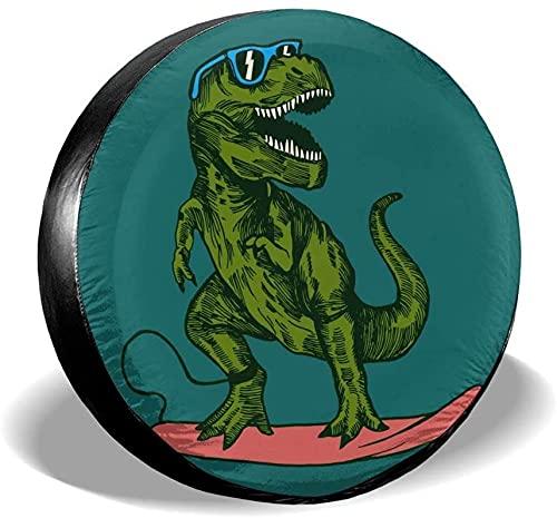 Cubierta de neumático de repuesto de dinosaurio verde,poliéster,universal,de 15 pulgadas,cubierta de neumático de rueda de repuesto para remolques,vehículos recreativos,SUV,ruedas de camiones,camione
