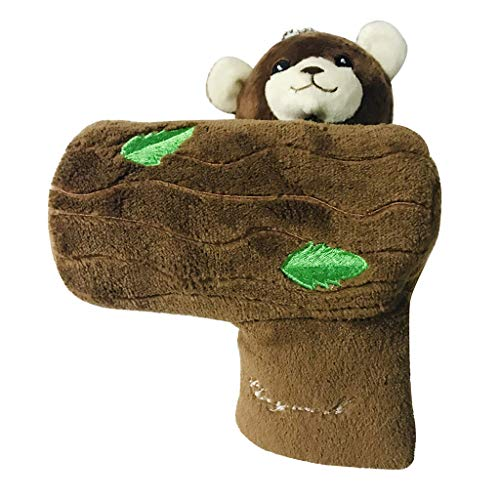 aternee Golf Club Headcover, Golf Club Cover Putter Bear Animal Lovely, Head Cover Accessorie Gift - Brown, 15.5x12x20cm
