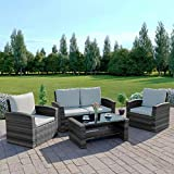 New Algarve Rattan Wicker Weave <span class='highlight'>Garden</span> <span class='highlight'>Furniture</span> Patio Conservatory Sofa Set (Mix Tone Grey with Light Cushions)