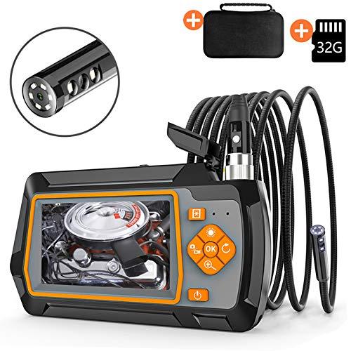 DDENDOCAM Endoscopio Industrial, Cámara de Inspección Endoscopio Doble Lente 1080P HD Pantalla de 4,3 Pulgadas, Endoscopio Impermeable IP67 con Luces LED, Tarjeta TF de 32 GB (Doble Lente, 1M)