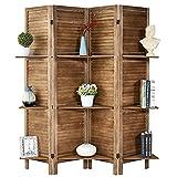 RHF 4 Panel 5.6 Ft Wood Room Divider, Wood Folding Privacy Screen Panels, Panel Divider&Room Dividers, Room Dividers with 3 Shelves and Folding Privacy Screens (4 Panel,Brown)