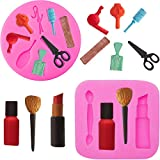 2 Pieces Makeup Tools Design Fondant Cake Molds Makeup Designed Silicone Molds Scissors Hair Tools Shaped Fondant Mold for Chocolate, Pudding, Candy, Jelly, Soap, Cake Cupcake Supplies, 2 Styles