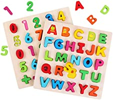 GEMEM Wooden Alphabet Puzzle Upper Case Letters and Numbers Puzzles Educational Learning Blocks Board Toys for 3+ Years...