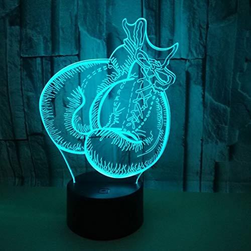 3D LED Luz de Noche Ilusión óptica Lámpara Guantes de boxeo 7 colores con control remoto Decoracion led Visual Luz de noche para niños