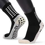VCTINA Calcetines de fútbol deportivos antideslizantes unisex, calcetines deportivos deportivos transpirables con puntos de goma para fútbol, baloncesto, deportes, correr, yoga, hockey (1 par Negro)