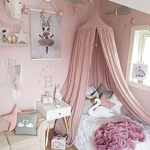 Betthimmel Babybett Rosa Mädchen Baby Kinder Baldachin Betthimmel Baumwolle Moskitonetz Kinderzimmer Schlafzimmer Spielzimmer Dekoration Pink