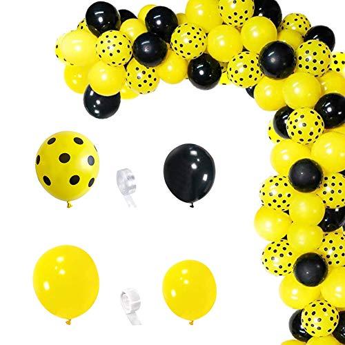 Kit de Arco de Guirnalda de Globos 122 Piezas Globos de Látex Globos Amarillo Globos Negro Decoración de Globos para Cumpleaños Baby Shower Bodas Fiestas