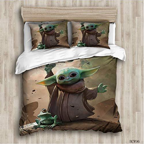 Star Wars Baby Yoda Juego De Cama 3D Textiles Para El Hogar Calidad De Algodón Calificado Juego De Ropa De Cama Queen Individual Funda Nórdica Funda De Almohada Textiles Para El Hogar 240X260Cm