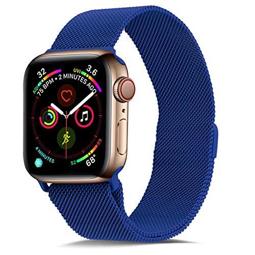 WeiYun Pulsera de Acero Inoxidable para Apple Muestra el Soporte metálico para Smart PM,Azul