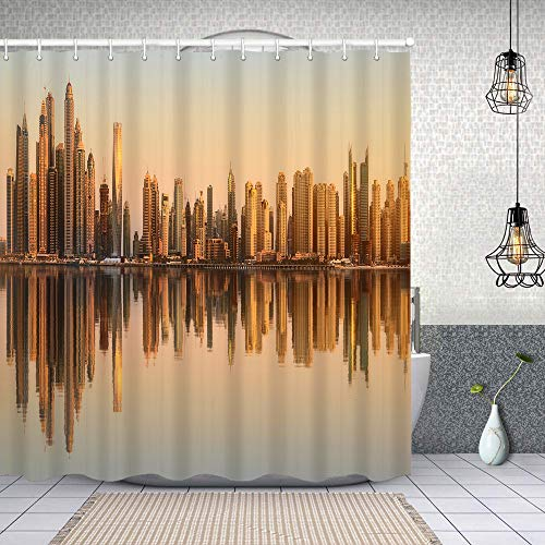 Cortina Baño,Belleza Panorama Rascacielos Dubai Marina Emiratos árabes Unidos,Cortina de Ducha Tela de Poliéster Resistente Al Agua Cortinas de Ducha Baño con 12 Ganchos,150x180cm