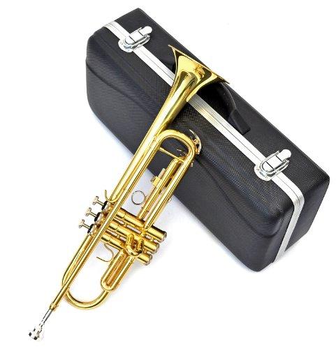 Bb Tromba laccata oro con grilletto, custodia rigida e bocchino C7